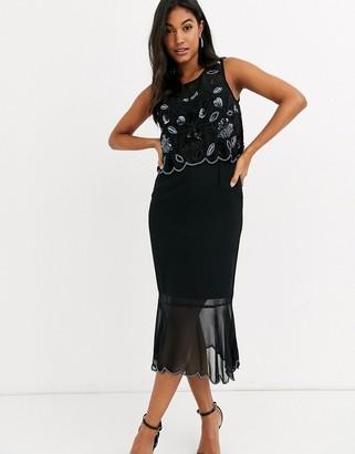 Frock and Frill sleeveless peplum dress-Black