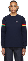 Noah NYC Navy Stripe Winged Foot Rugby Long Sleeve T-Shirt