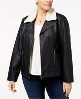 Style and Co Plus Size Fleece-Collar Faux-Leather Jacket, Created for Macy's