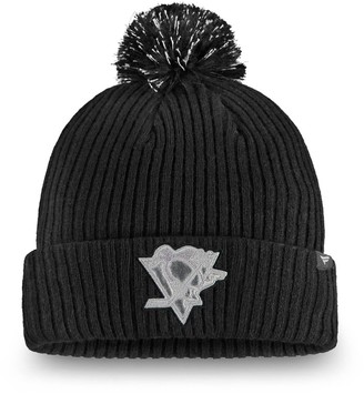 Women's Fanatics Branded Black Pittsburgh Penguins Lunar Cuffed Knit Hat With Pom