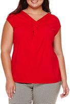 Liz Claiborne Sleeveless Crisscross Knit Top - Plus