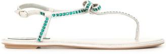 Rene Caovilla Embellished Bow Thong Sandals