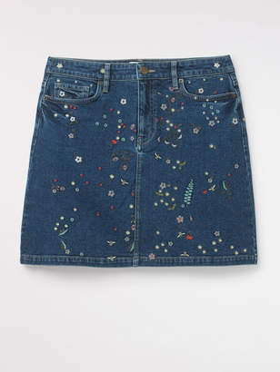 White Stuff Birds And Bees Emb Denim Skirt