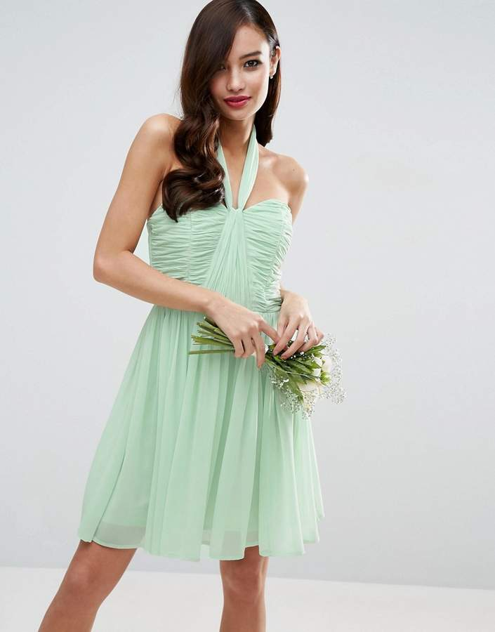 Asos Design DESIGN Bridesmaid ruched halter mini dress