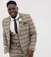 Twisted Tailor plus skinny suit jacket with chain in heritage brown check