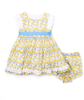 Laura Ashley Yellow Floral Angel Sleeve Ruffle Dress - Infant Toddler & Girls