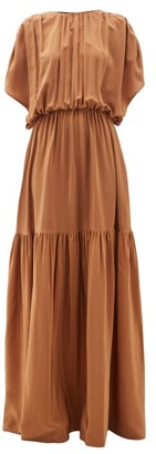 Rochas Draped Silk Crepe-de-chine Gown - Womens - Brown