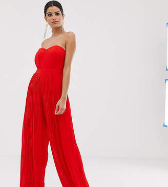 TFNC Tall Tall bandeau pleated wide leg jumpsuit in red