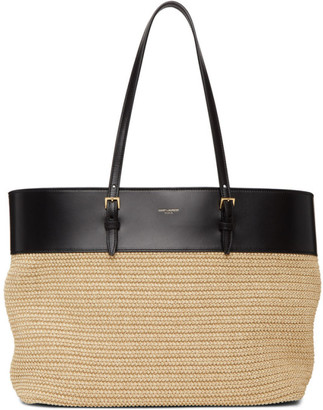 Saint Laurent Beige Raffia East/West Shopping Tote
