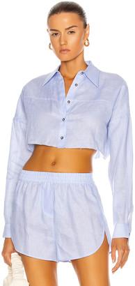 ZEYNEP ARCAY Linen Crop Shirt in Light Blue | FWRD