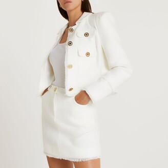 River Island Womens White boucle mini skirt