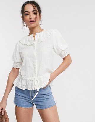 Y.A.S broderie blouse with collar in white