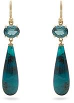 Irene Neuwirth Diamond, tourmaline, chrysocolla & gold earrings