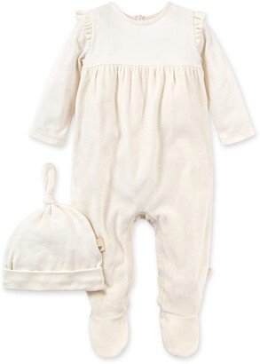 Burt's Bees Velour Organic Baby Holiday Jumpsuit & Knot Top Hat Set
