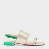 Paul Smith Women's Metallic Gold And Green Leather 'Cleo' Sandals