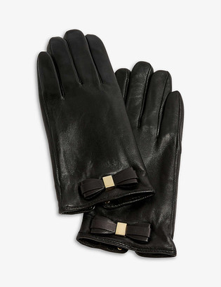 Ted Baker Frannca bow-appliqué leather gloves