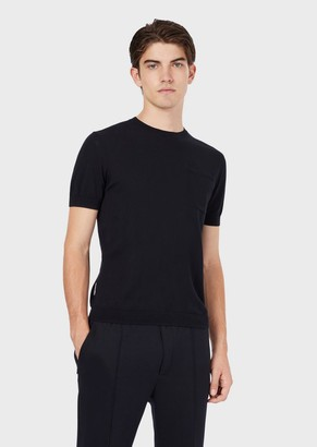 Emporio Armani Mixed Silk Cotton Sweater With Applied Pocket