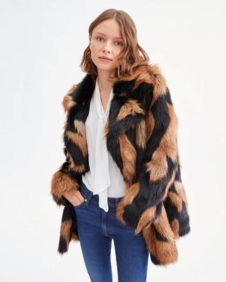 7 For All Mankind Chevron Fur Coat in Brown Black