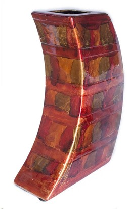 HomeRoots Contemporary Copper Red Gold Ceramic Foil and Lacquer Leaning Vase
