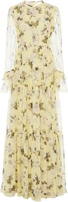 Erdem Alvaro Tiered Floral-Print Silk Voile Gown