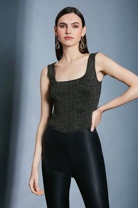 Karen Millen Sparkle Knit Rib Square Neck Vest Top