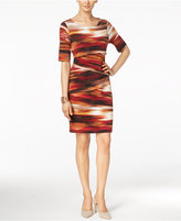 Connected Petite Printed Tiered Sheath Dress