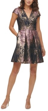 Vince Camuto Petite Brocade Fit & Flare Dress