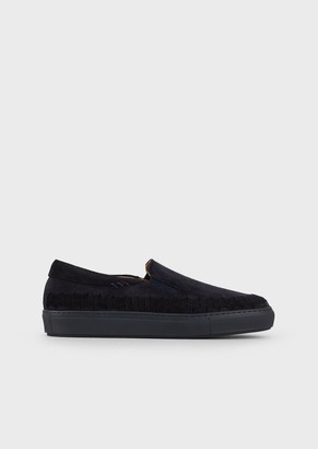 Giorgio Armani Slip-Ons In Suede With Chevron Detail On The Side