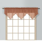 1 Piece Coordinating Sheer Spice Voile Ascot Valance, Curtain, Solid Pattern, Contemporary Style, Beautiful Design, Polyester Material, Luxury And Reach Look, Stunningly Beautiful, Tan, Mocha