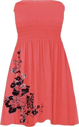 GirlzWalk Women's Floral Glitter Swing Mini Dress Ladies Sheering Bandeau Boobtube Top (Black XL 16-18)