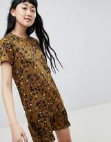 Daisy Street Shift Dress with Frill Hem in Leopard Print