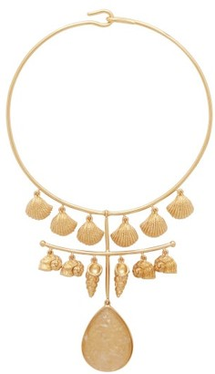 Aurelie Bidermann Panama Shell And Crystal 18kt Gold-plated Necklace - Womens - Gold