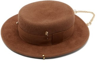 Ruslan Baginskiy Pierced And Draped-chain Felted-wool Canotier Hat - Brown