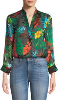 Alice + Olivia Amos Floral Burnout Long-Sleeve Top