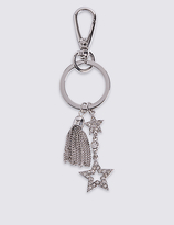 M&S Collection Tassel Double Pave Star Keyring