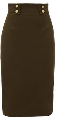Alexander McQueen Buttoned Wool-blend Pencil Skirt - Womens - Khaki