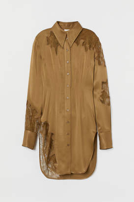 H&M Satin shirt with lace