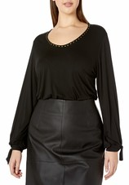 Karen Kane Plus Womens Plus Size Tie-Sleeve Top