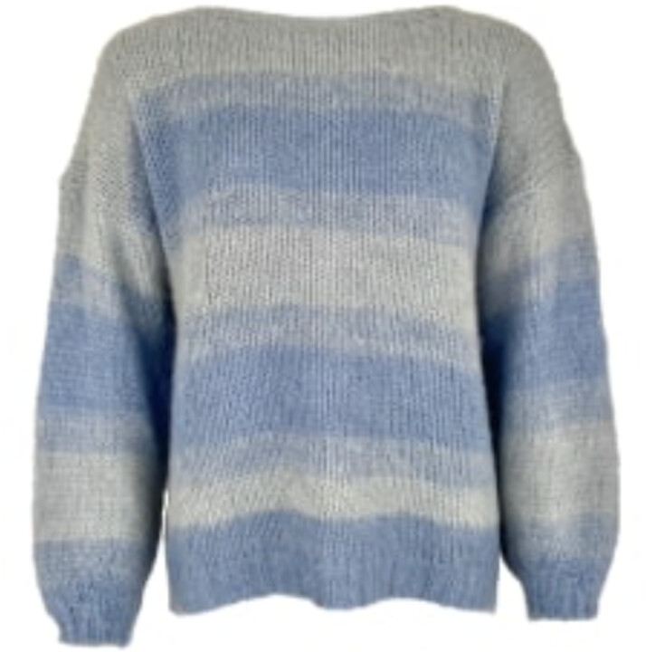 Thumbnail for your product : Margaux Blue Striped Boatneck Sweater
