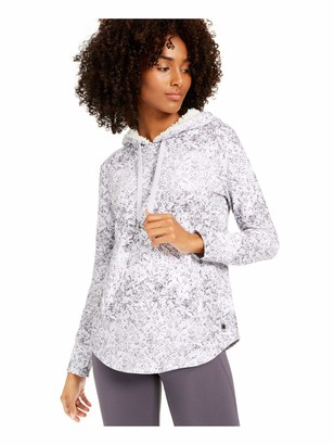 Ideology Womens White Animal Print Long Sleeve Hooded Hoodie Top Size: M