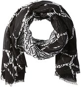 Armani Jeans Women's Logo Printed Mix Polyester Light Weight Scarf