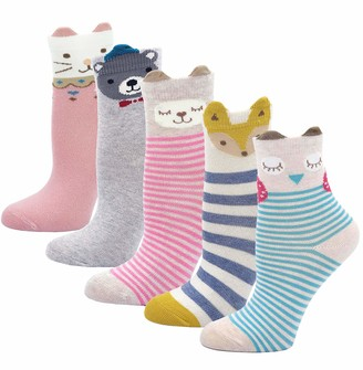 Lumsinker 4 Pairs Cute Baby Socks Cotton Infant Toddler Crew Socks Gift Socks