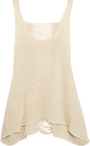 Stella McCartney Distressed Open-knit Linen Tank - Beige
