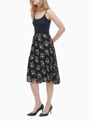 Calvin Klein Floral Pleated Skirt