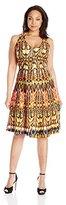 Gabby Skye Women's Plus-Size Tribal Printed Halter Dress