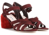 Miu Miu Suede sandals with shearling-covered heel