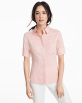 White House Black Market Pink Elbow Sleeve Poplin Shirt