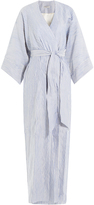Three Graces London Striped Robe with Cotton, Silk and Linen