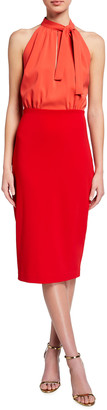 Badgley Mischka Colorblock Sleeveless Tie-Neck Dress