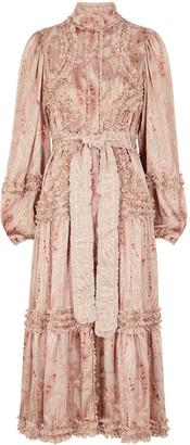 Alexis Rozalya Paisley-devore Satin Midi Dress
